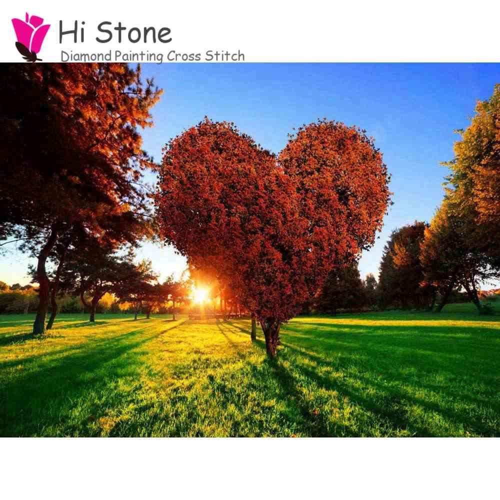 Алмаз живопись Стикеры в форме сердца деревья 5d diy вышивки крестом Алмазная вышивка мозаичные украшения дома подарок