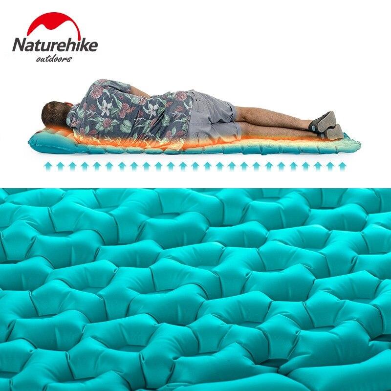 Naturehike Saco de Dormir Colchón Inflable Al Aire Libre Estera de Llenado Rápido de Aire A Prueba de Humedad Colchoneta Con Almohada Para Dormir 460g - 4