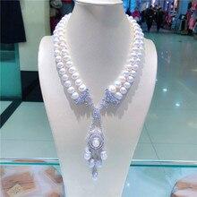 Стиль натуральный 2 ряда 9-10 мм белый пресноводный жемчуг микро инкрустация циркон аксессуары ожерелье Модные ювелирные изделия