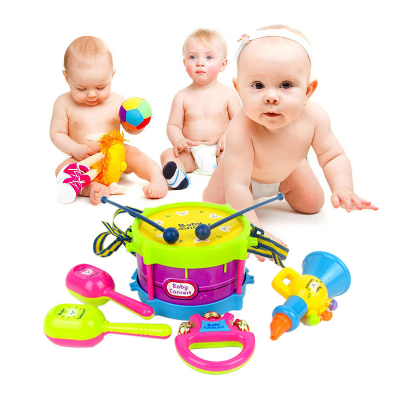5Pcs/Set Mini Musical Instruments Band Roll Drum Horn Music Toy Set Baby Grasp Hand Bell Drum Fun Early Educational Music Toy