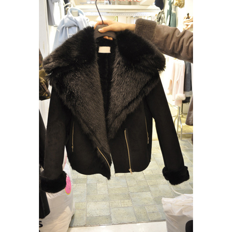 De Court Minceur Zippée Nouvelles Noir Automne Femmes Vestes Fourrure Manteaux Mode Grand 2016 Manteau Col Dames Veste Coréennes a0qnWz