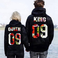 Plus Size S 5XL Couple Hoodies Sweatshirts King Queen Letters Printed Long Sleeve Hooded Tracksuit For Men Women Funny Clothes