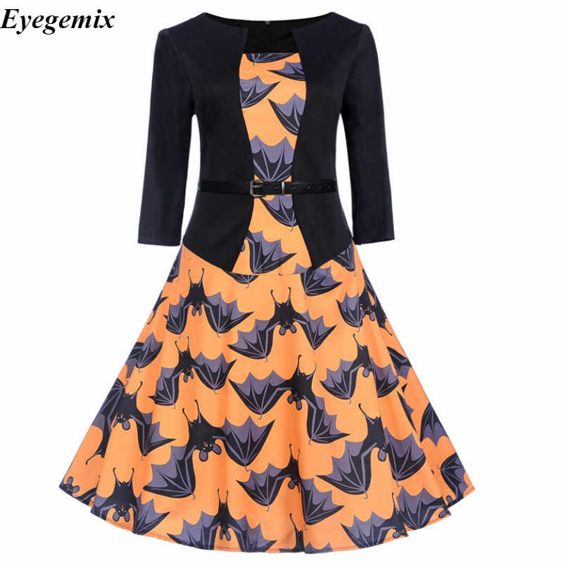 Robe Halloween Femme Vintage Jurk Herfst 2018 Fashion O-hals Gedrukt Ol Pin Up 50 S Rockabilly Party Winter Jurken Grote swing
