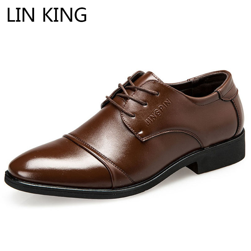 купить LIN KING Big Size Fashion Pu Leather Men Wedding Party Shoes Casual Oxfords Shoes Lace Up Formal Shoes Pointed Toe Dress Shoes онлайн