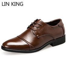 LIN KING Big Size Fashion Pu Leather Men Wedding Party Shoes Casual Oxfords Shoes Lace Up Formal Shoes Pointed Toe Dress Shoes стоимость