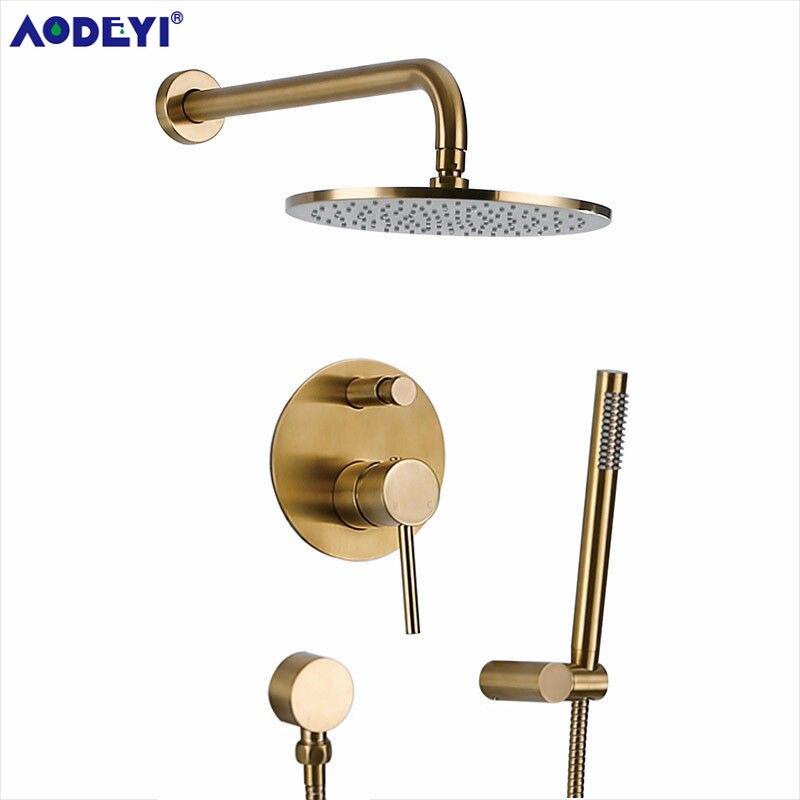Ouro escovado latão conjunto de chuveiro do banheiro rianfall cabeça chuveiro torneira do chuveiro fixado na parede do chuveiro braço misturador água conjunto