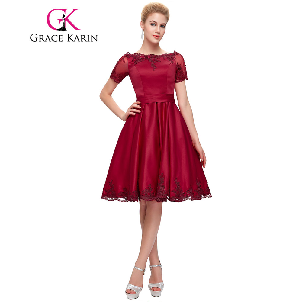 Grace Karin Champagne Dark Red Cocktail Dress Short Sleeve Satin ...