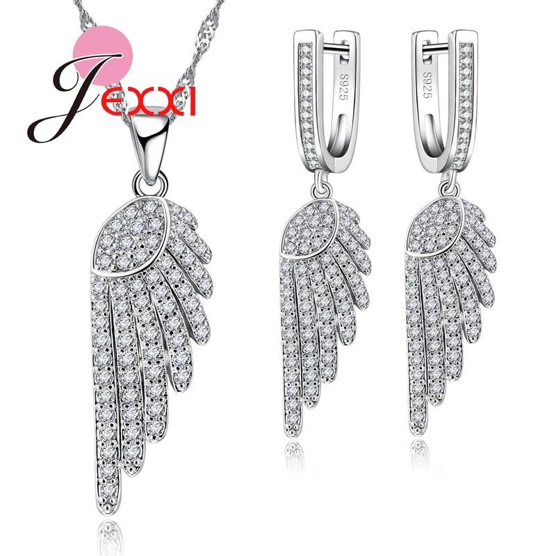 925 Sterling Silver Wings Angel CZ Diamante Beautiful Stud Earrings /& Gift Box