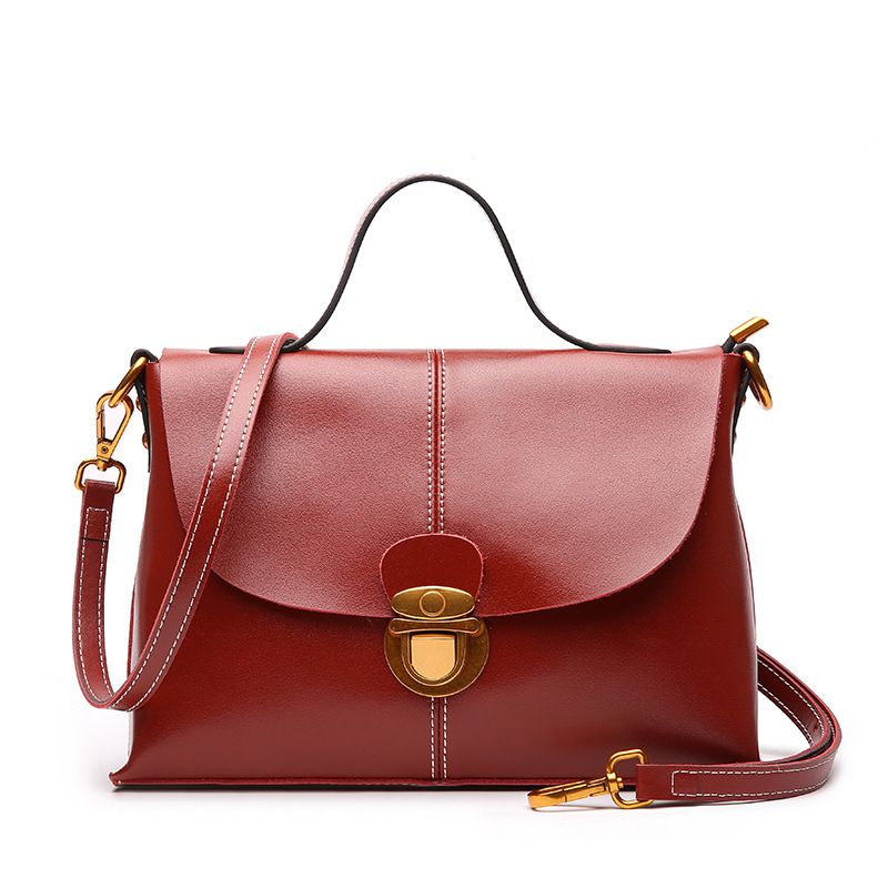 Women's new leather fashion handbags Korean version of the broadband simple wild leather shoulder diagonal package qiaobao 2018 new korean version of the first layer of women s leather packet messenger bag female shoulder diagonal cross bag