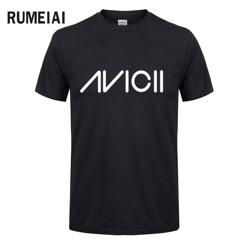 Rock Band Avicii Printed T-Shirts Men New Short Sleeve O Neck Cotton Mens T Shirt Tim Bergling DJ Tee Shirt Homme Fans Clothing