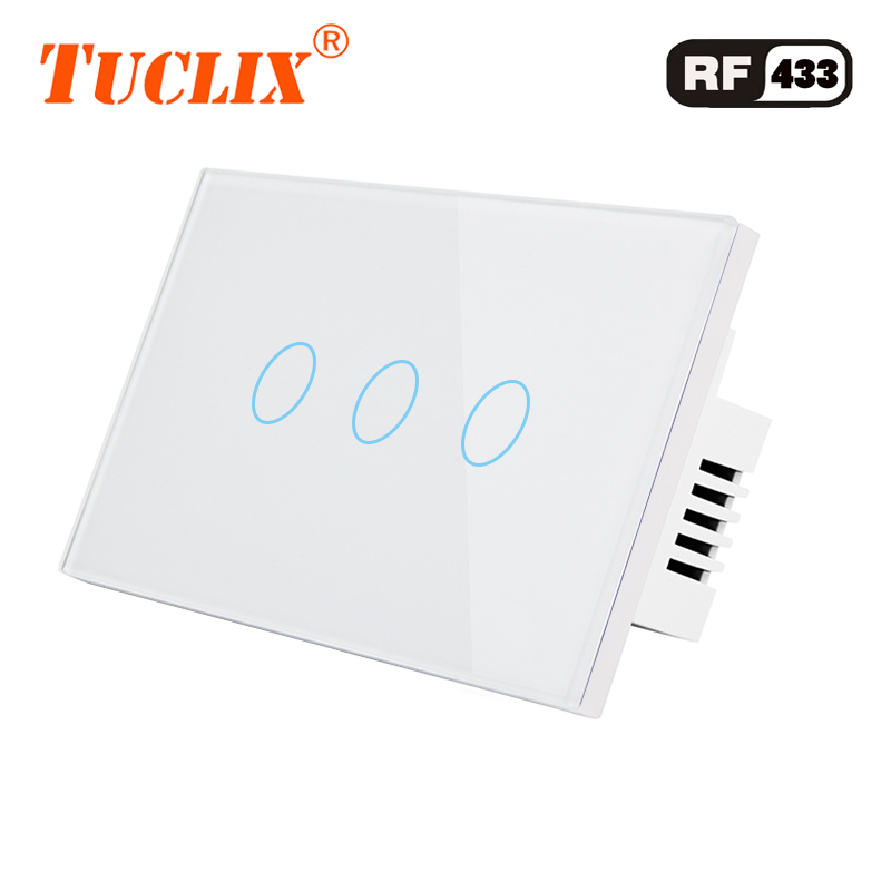 TUCLIX US Standard Remote Control Switch 3 Gang 1 Way ,RF433 Smart Wall Switch, Wireless remote control touch light switch