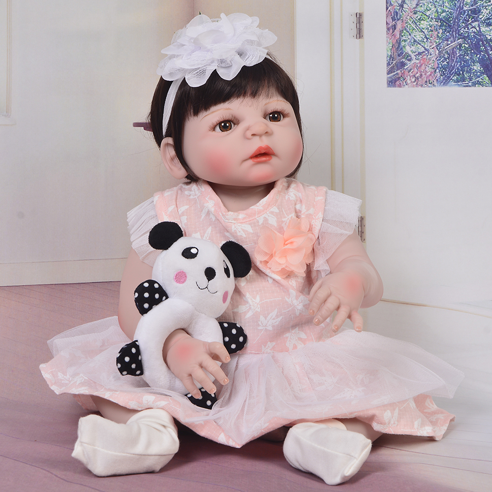 57cm Full Silicone Body Reborn Baby Doll Toy For Girl Vinyl Newborn Princess  Bebe gift reborn Bathe toys boneca reborn alive57cm Full Silicone Body Reborn Baby Doll Toy For Girl Vinyl Newborn Princess  Bebe gift reborn Bathe toys boneca reborn alive