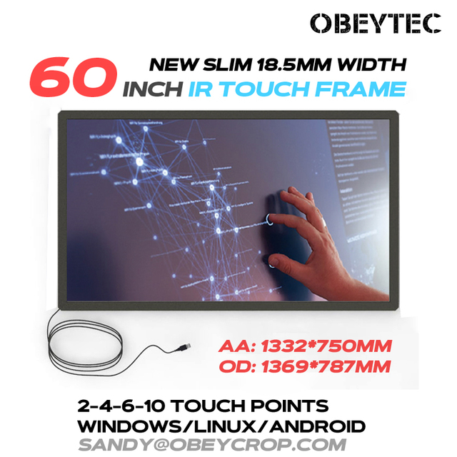 Obeytec 60 inch 2 touch Points Touch Screen, IR Touch Frame, USB interface, Aluminum Alloy Frame, Beautiful products
