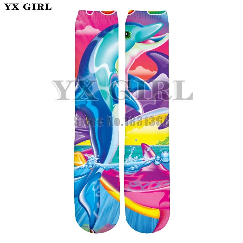 YX GIRL Lisa Frank Man/Women Galaxy 3d Print funny Socks Rainbow Unicorn/Dolphin/Tiger Casual Unisex Cool Cotton Long Socks