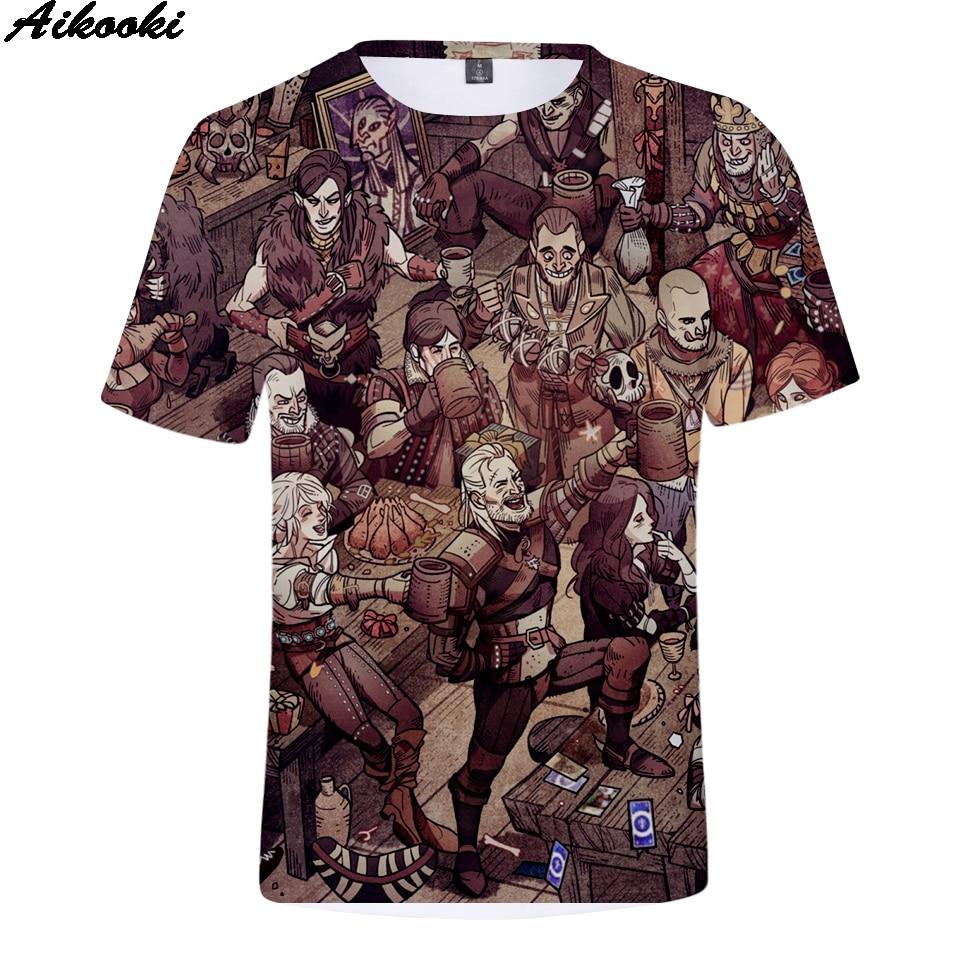 Aikooki witcher 3 Print 3D T-Shirt Men/Women Fashion Tees 3D witcher t shirt Men Short Sleeve Summer Tshirt Hip Hop Tops