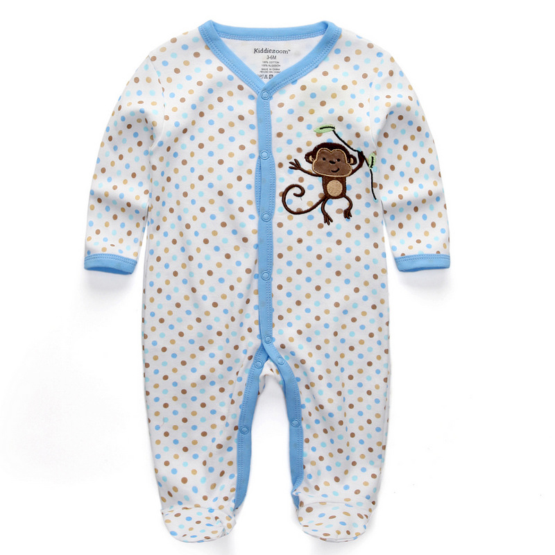Для маленьких девочек сна; одежда для сна с мультяшным рисунком для малышей Детские пижамы хлопок Длинные рукава Детские пижамы с надписью «i love daddy» детские комбинезоны с рисунками - Цвет: baby monkey