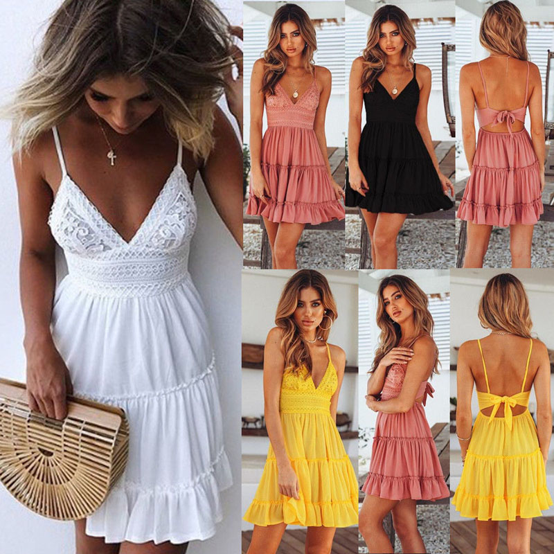 Summer <font><b>Women</b></font> <font><b>Sexy</b></font> White <font><b>Lace</b></font> <font><b>Dress</b></font> <font><b>Backless</b></font> <font><b>Spaghetti</b></font> <font><b>Strap</b></font> <font><b>Dress</b></font> 2019 Casual V-neck Mini Beach Sundress Halter Bow <font><b>Dresses</b></font> image