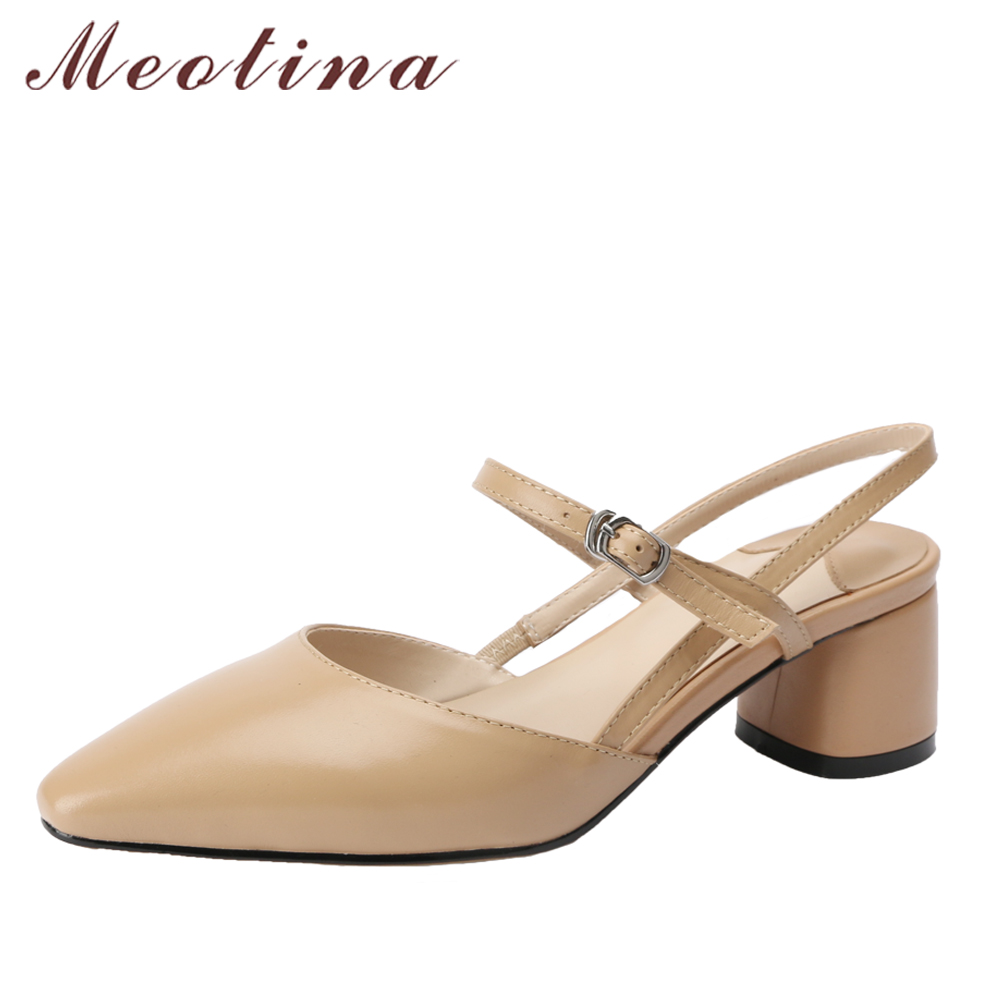 Meotina Genuine Leather Women Pumps Mid High Heels Ladies Party Shoes Pointed Toe Slingback Shoes Buckle Thick Heel Spring Shoes meotina genuine leather women shoes female plaid party shoes block heel bow strap high heels kid suede ladies pumps 2018 spring