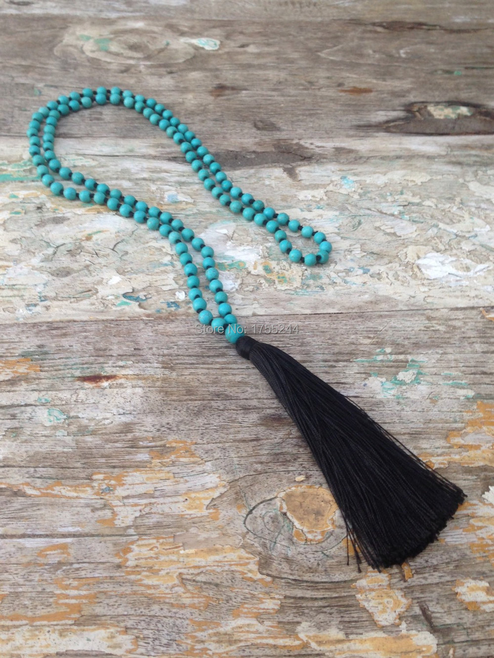 ST0233 108 mala necklace Boho Chic Tassel Necklace Black Tassel Tuquoise Stone Beads Necklace Muslim Necklaces