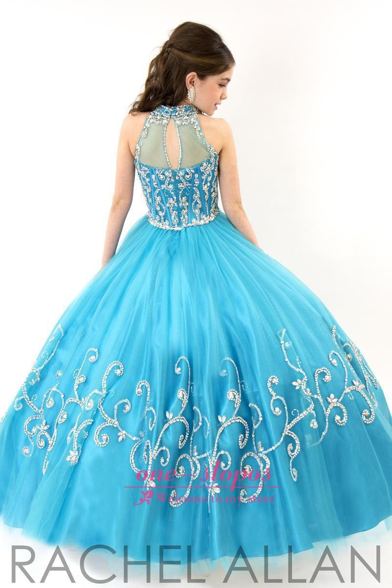 Girls Pageant Dress 2015 New Lovely Blue Ball Gown Kids Prom Dress ...