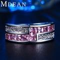 MDEAN Oro Blanco plateado Anillos Redondos para Las Mujeres Rosa Diamante Simulado Ronda de Compromiso bague anilos MSR163