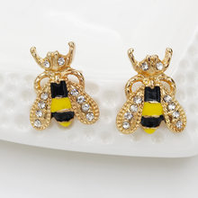 Fashion sweet Cute Rhinestone Insect Small Bee Crystal Stud Earrings for Women Girls Piercing Jewelry(China)