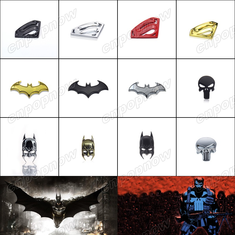 3d cool metal car styling sticker decal cover logo badge emblem for superman batman mask bat