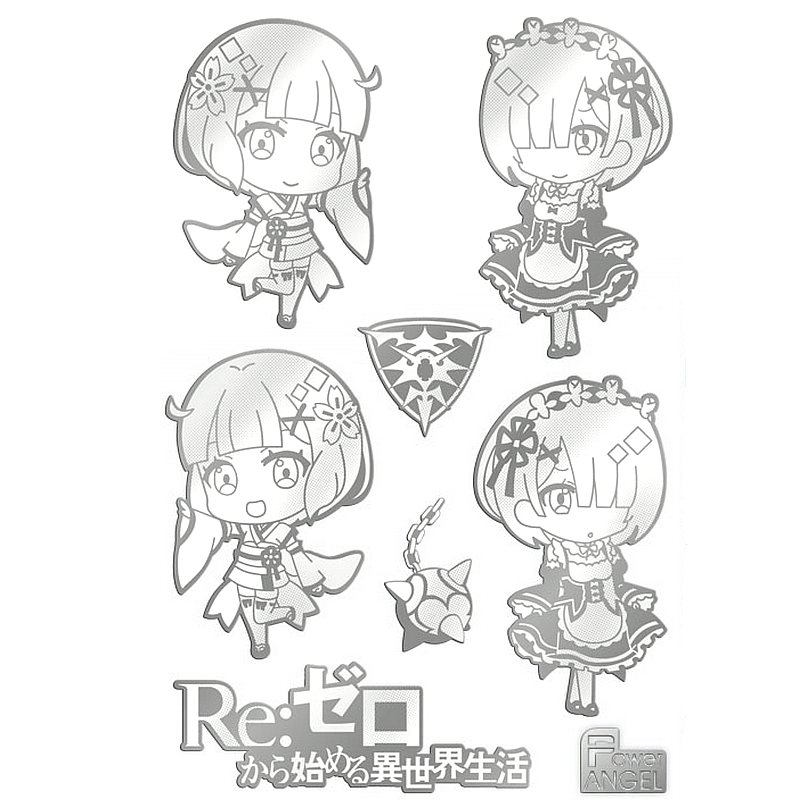 1 Sheet AC Re Zero Kara Hajimeru Isekai Seikatsu Anime Adhesive Decal Stickers Phone Laptop Waterproof 3D DIY Metal Sticker Toy in Stickers from Toys Hobbies