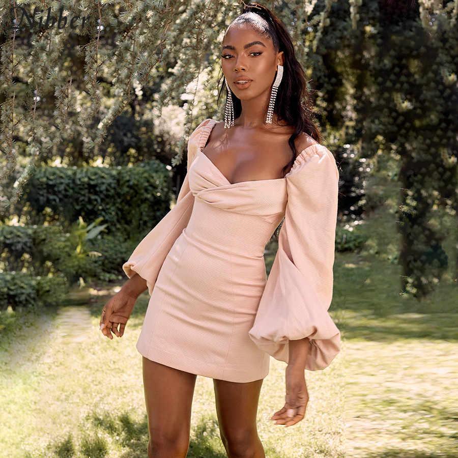 Nibber Летние Элегантные пикантный низкий разрез облегающие Мини платья женские 2019 осенние офисные женские розовые Клубные вечерние короткие платья mujer