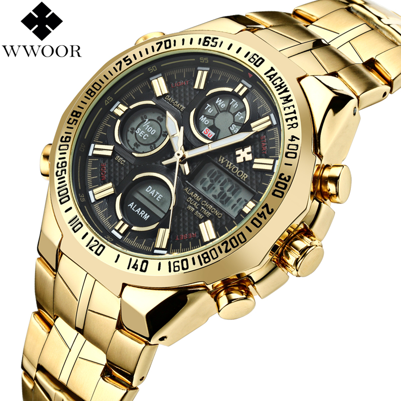 WWOOR Brand Luxury Men Waterproof Sports Watches Men's Quartz LED Analog Clock Male Military Wrist Watch Gold Relogio Masculino weide new men quartz casual watch army military sports watch waterproof back light men watches alarm clock multiple time zone