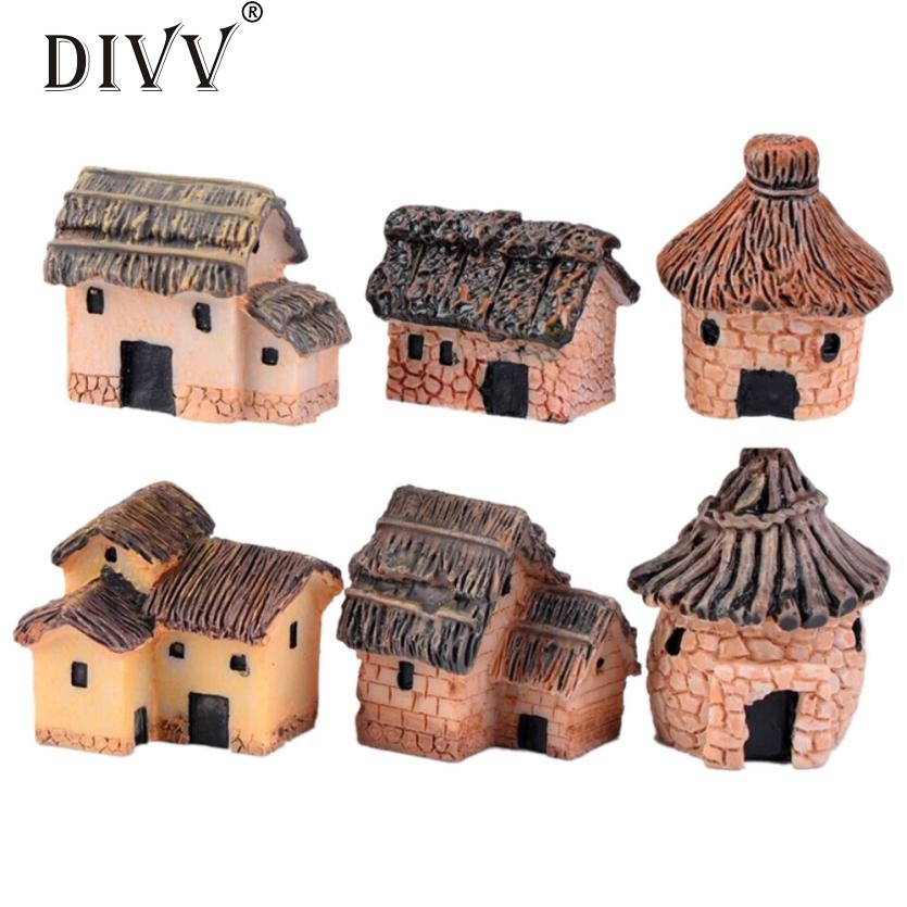 Mini Dollhouse Stone House Cottage Resin Decorations For
