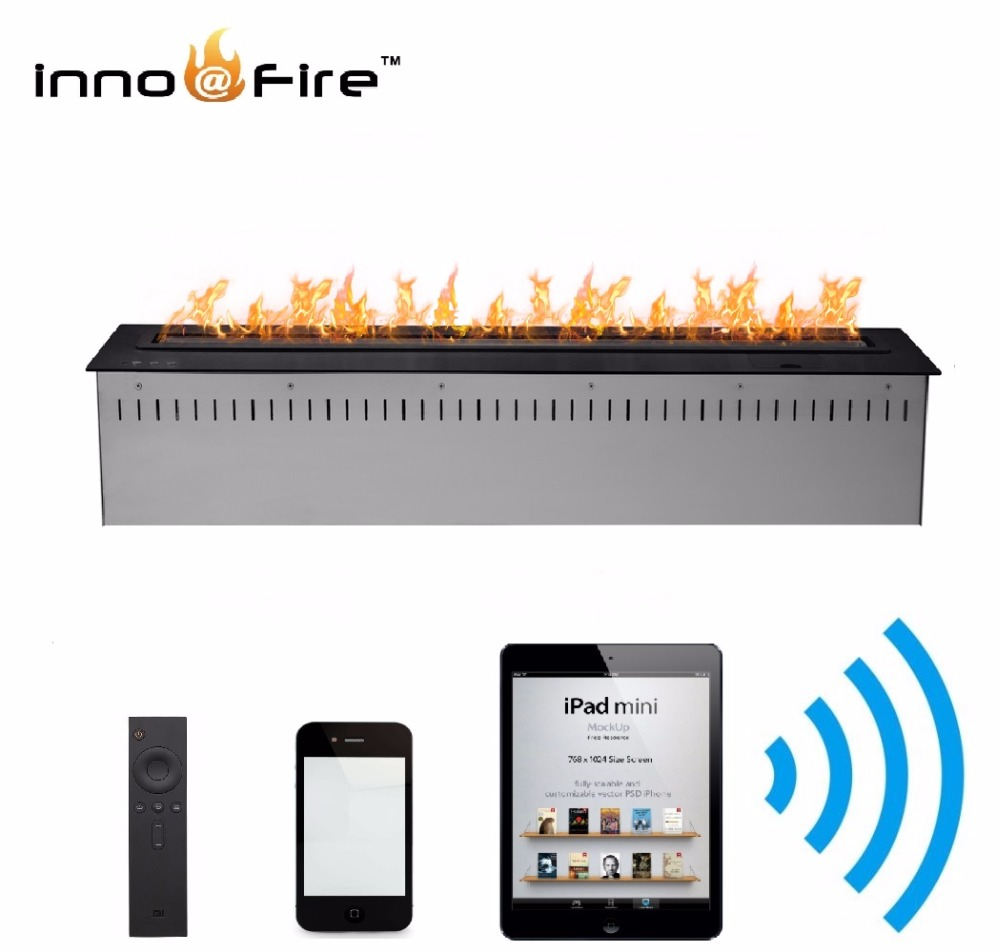 On Sale 48 Inch 1.2 M Black/silver Wifi Control Bioethanol Fireplace