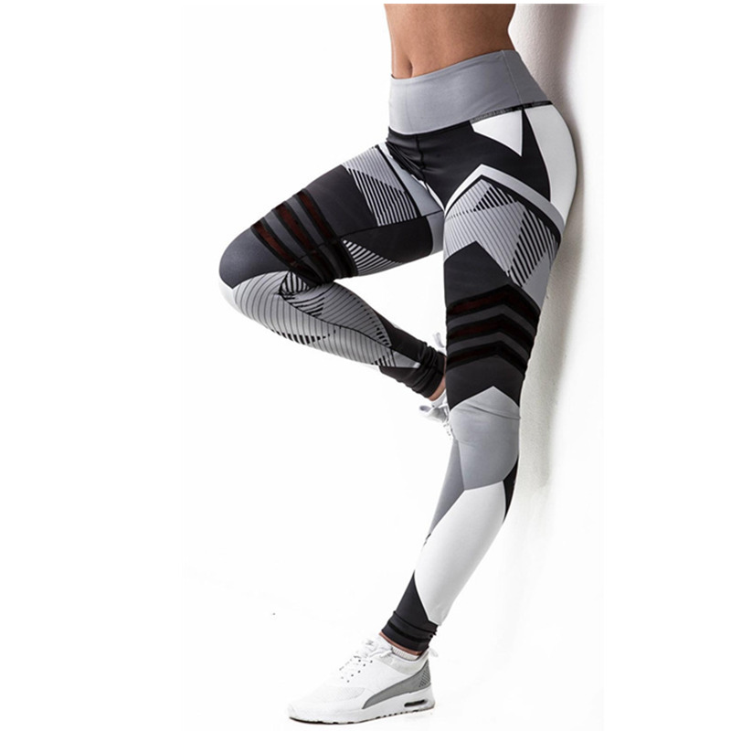 NORMOV Fashion Spring Leggings Women High Waist Irregular Printed Quick Drying Fitness Legging Female Elastic Workout Leggins