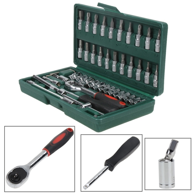 "Hot Professional 46pcs Spanner Socket Set 1/4"" Screwdriver Ratchet Wrench Set Kit Car Repair Tools Combination Hand Tool Set 3"