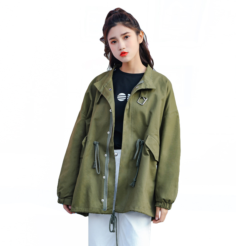 2019 New Spring Womens Windbreaker Loose   Jacket   Large Size Loose BF Wind Solid Color Autumn Long Sleeve   Basic     Jackets   Women Coat