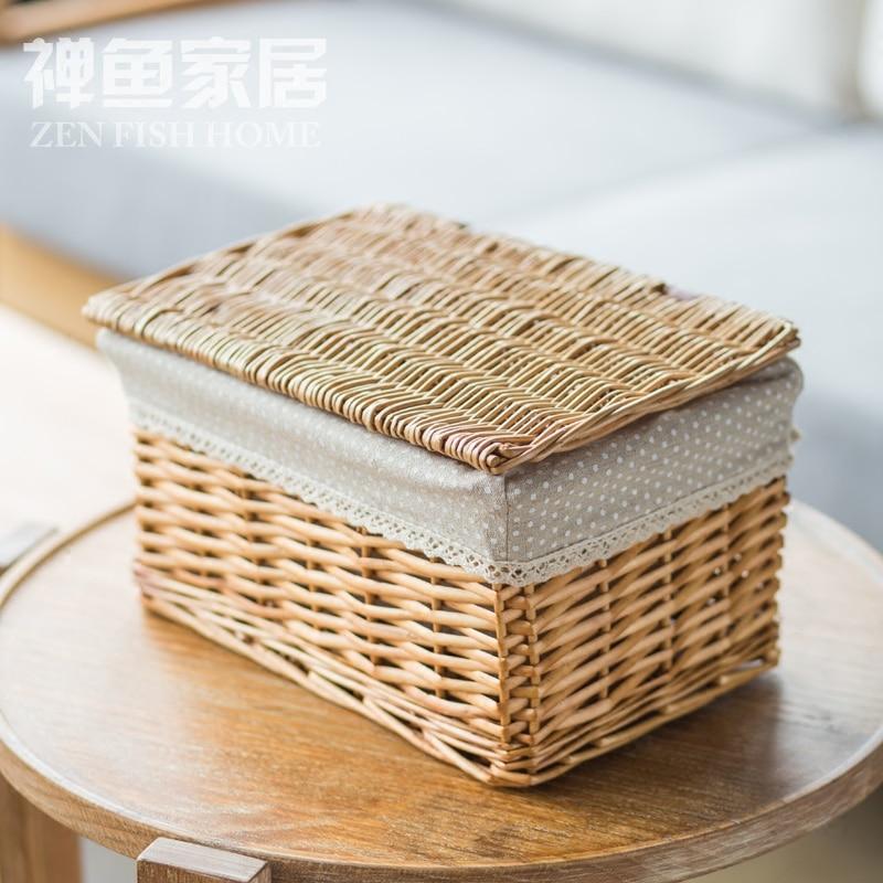 Přijmout proutí tkané koše kuchyně hračka občerstvení různé kosmetika box obývací pokoj oblečení bin pastorační