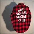 Antisocial Club Social 1:1 Scottish Plaid camisa de Los Hombres Anti Social Club de Algodón de Moda Marca de Ropa Assc Cuadros Rojos camisas