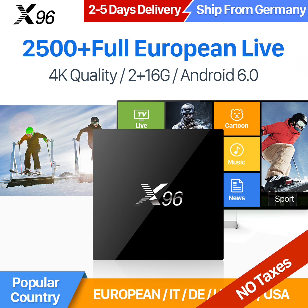 IUDTV IPTV Europe Channels X96 Android 6 0 TV Box Smart 2GB 16GB Amlogic S905X Quad