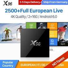 IUDTV IPTV Europa Kanäle X96 Android 6.0 TV Box Smart 2 GB 16 GB Amlogic S905X Quad Core H.265 4 Karat WiFi Schwedisch Französisch IPTV Box