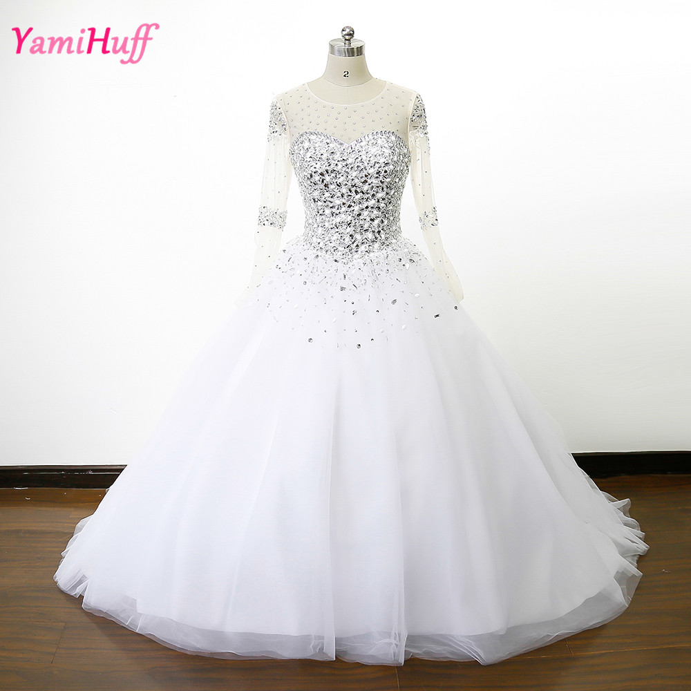 Buy sheer crystal rhinestone wedding for Long sleeve beaded wedding dress