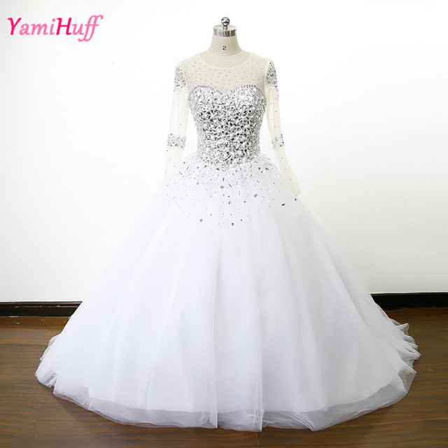Sheer Crystal Rhinestone Wedding Dresses Long Sleeve Bridal Gowns ...
