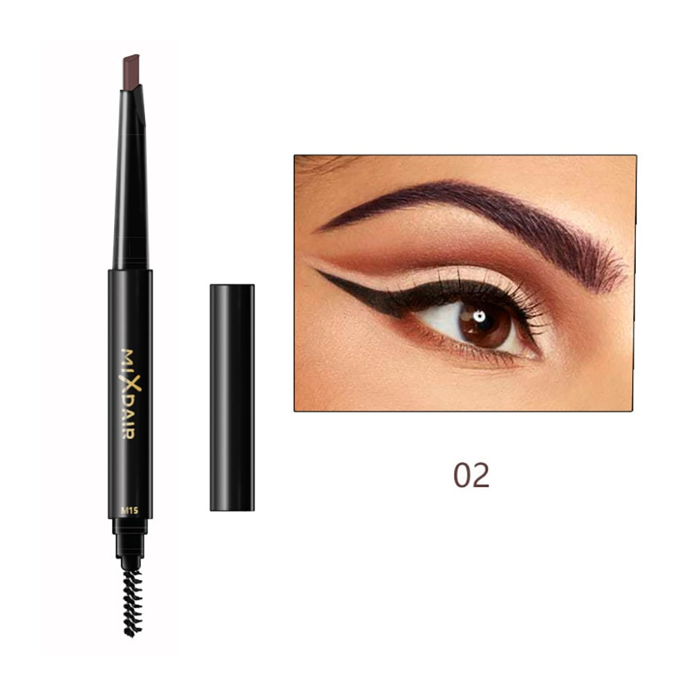 MIXDAIR double ended eyebrow pencil long lasting black coffee Triangular head automatic rotation eyebrow drawing pen MD008 1