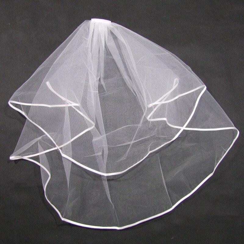 Two Layer Ribbon Edge White Ivory Short Veil Bridal Veil