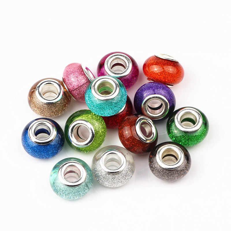 10 unids/lote 14mm Color mixto europeo Rondelle, cuentas de resina de agujero grande con revestimiento de núcleos de latón plateado, ajuste espaciador de brazalete cuentas