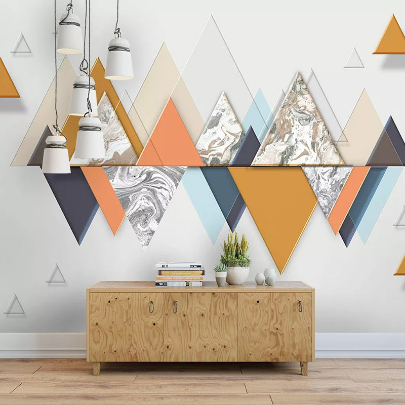 Custom Mural Wallpaper 3D Abstract Geometric Triangle Marble Wallpaper Living Room Study Self-Adhesive Waterproof Canvas Sticker