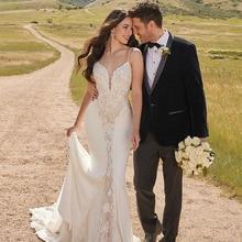 Spaghetti Straps Mermaid Wedding Dress Lace Appliques Sleeveless Trumpet Wedding Gowns Illusion Backless Ivory Bridal Dress цена и фото
