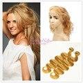 Stella Reina #27 Honey Blonde 360 Frontal Del Cordón Con 2 paquetes Onda Del Cuerpo Del Pelo Brasileño Teje con Llena Del Cordón Frontal cierre