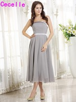 Simple Short Grey Tea Length Chiffon Strapless Bridesmaids Dresses Cheap Wedding Party Dresses Custom Made Bridesmaid