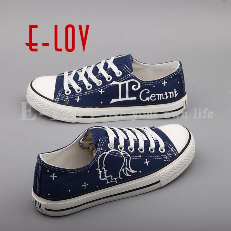 A Zapatos Yd205l La Graffiti Ocasionales Planos 00000 Horóscopo Pintada Lona Mano Personalizado De Lov Mujer Zapatillas Luminoso Gemini 01xSqSE