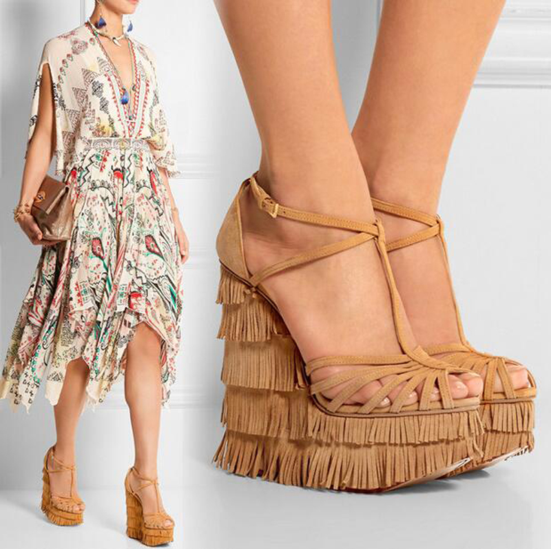 Newest Fashion Women shoes sandals luxury Noble Dress Shoes Cheap Price Summer Party Hot Sale Galdiator Sexy Platform Tassel anmairon shallow leisure striped sandals women flats shoes new big size34 43 pu free shipping fashion hot sale platform sandals